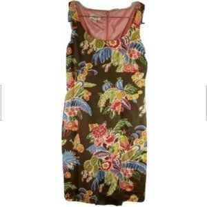 Talbots Brown Multi Color Floral Sleeveless Dress